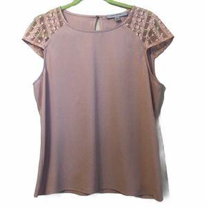 Marc New York lace cap sleeve blouse medium